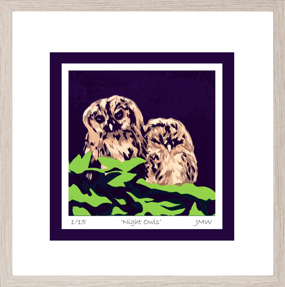 owls framed for gallery & rooms