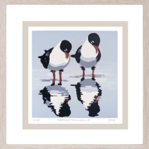 'Reflecting Gulls' - framed